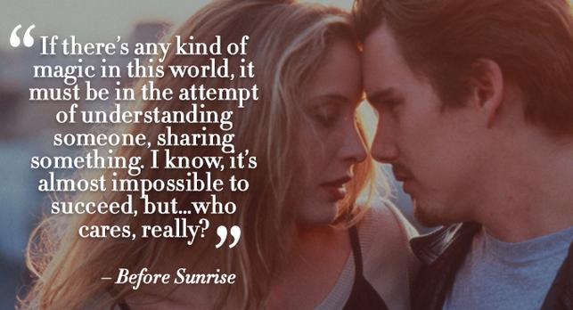 before sunrise romantic dialogue