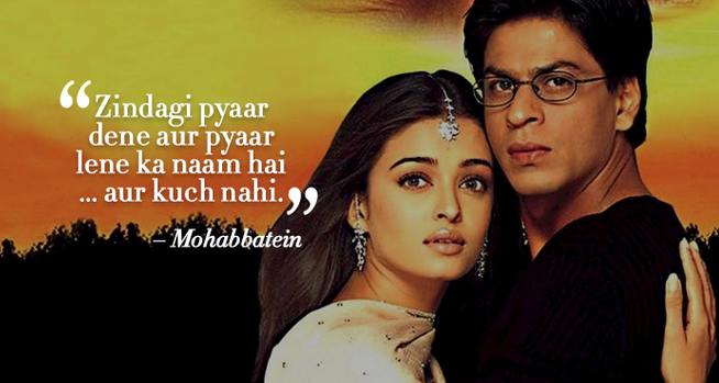 Mohabbatein romantic dialogue