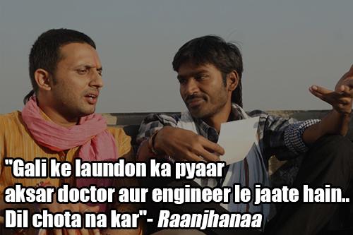raanjhanaa movie dialogue