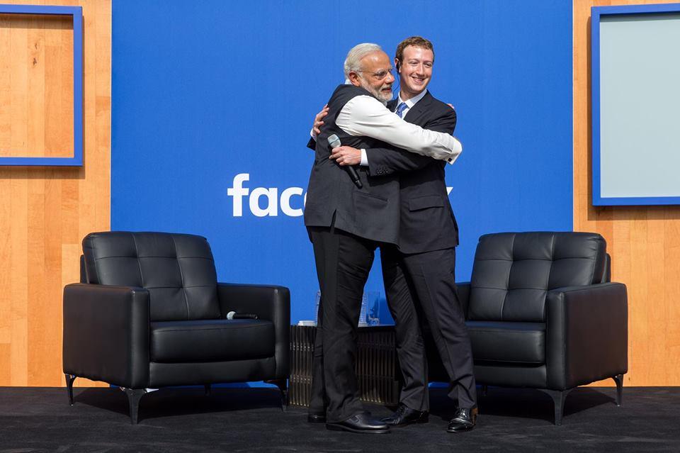Narendra Modi and mark zuckerberg meeting at townhall facebook headquarter