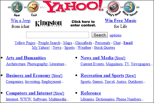 how did yahoo website looked when it was first launched