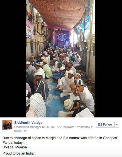 Eid namaz was offered in Ganapati Pandal in mumbai