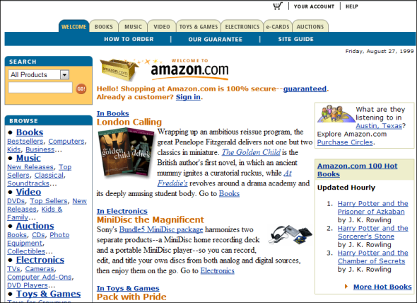 how did amazon website looked when it was first launched