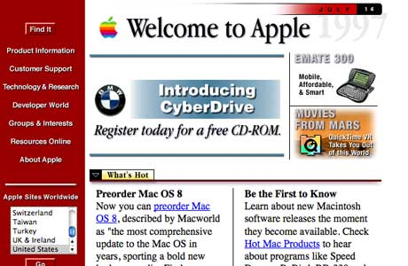 hwo did apple website look when it was launched