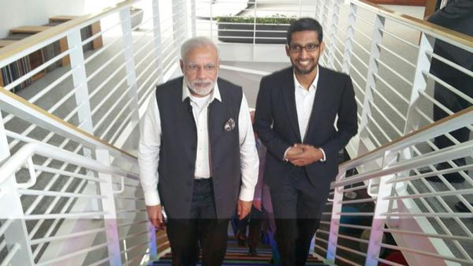 narendra modi and sundar pichai meeting at google headquarter