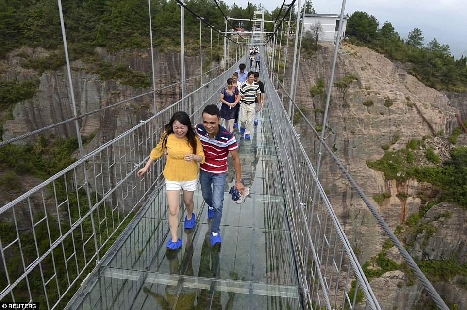 Chinas new glass bottom walkway tourist place