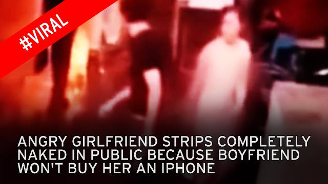 Girl strips in shopping centre after boyfriend refuses to buy her iPhone 6s