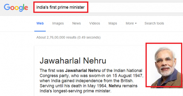 google mistakes narendra modi as first prime minister