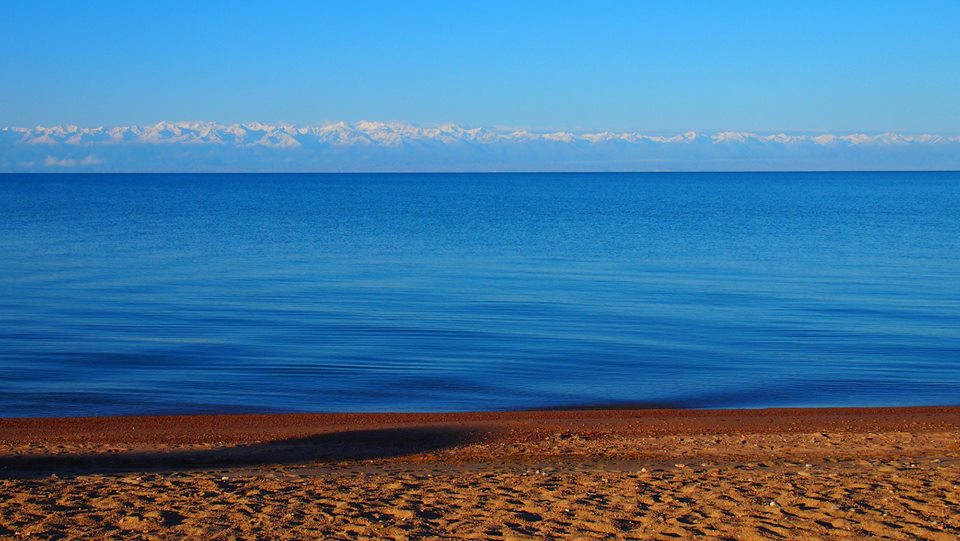 The crystal clear waters of Issyk-Kul Lake