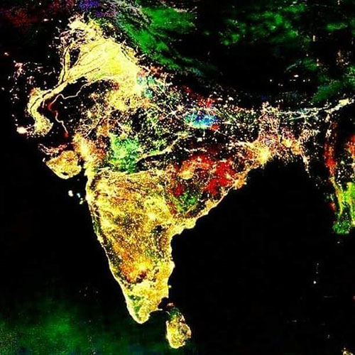 fake photo of india from space during diwali