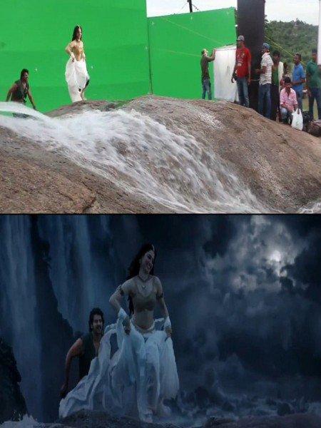 bahubali song shooting on mountain effects