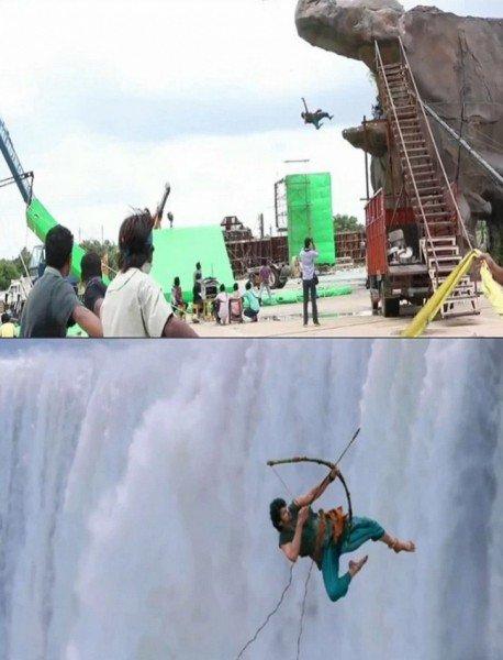bahubali waterfall jump effect