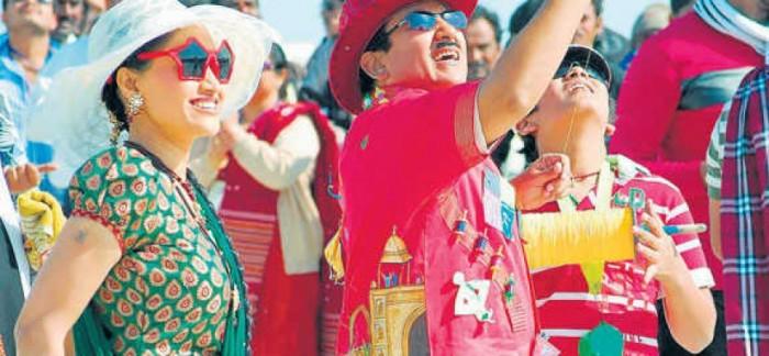 sunglasses and hat during uttarayan