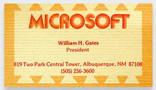 Bill Gates Microsoft business card