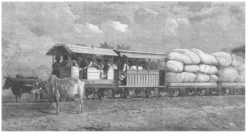 Bullocks_hauled_train_on_2_feet_6_inches_wide_3_lbs_rail_to_connect_Dabhoi_with_Miagam