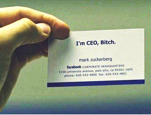 Famous entrepreneur and their unique business cards dontgetserious mark zuckerberg facebook business card reheart Choice Image