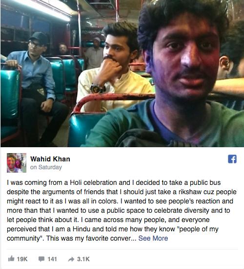 Pakistani Man Boards A Bus After Playing Holi