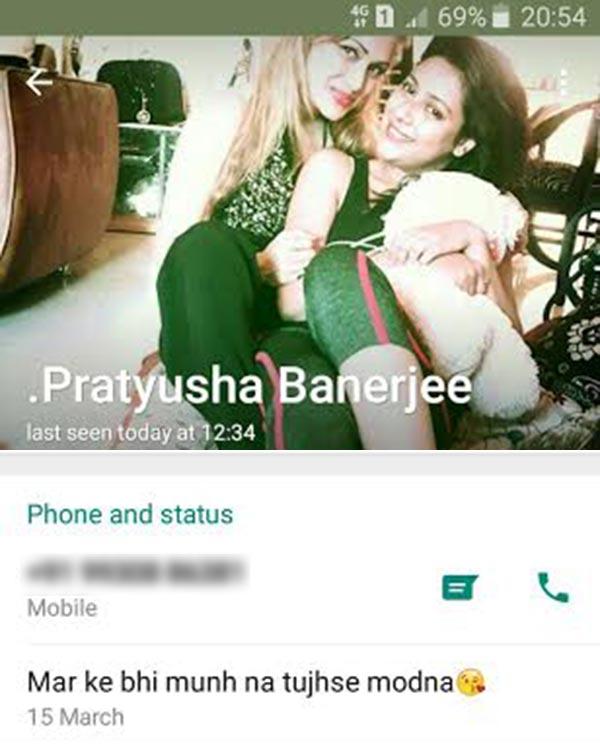 Pratyusha Banerjee suicide whatsapp status