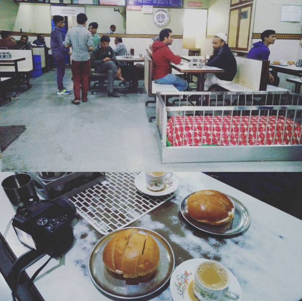 Sit next to actual grave and have maska pav at New Lucky Tea stall