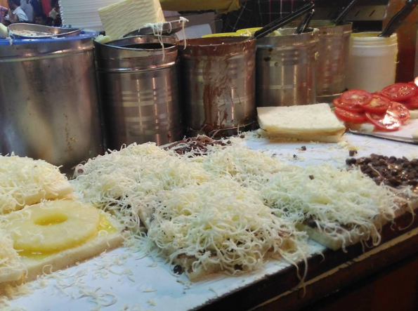 The chocolate, pineapple and cheese sandwich at Manek Chowk