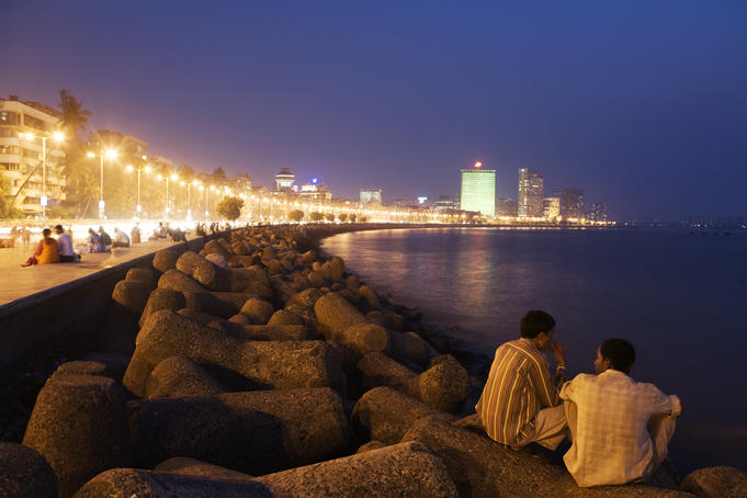 Marine Drive And Nariman Point At Night