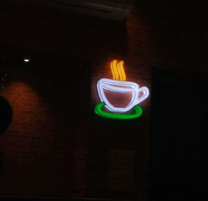 neon Central Perk sign in friends cafe