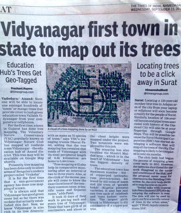 vidyanagar first town in state to map out it's trees