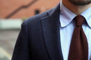 Burgundy Tie on Blue Shirt