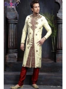 Cream Sherwani with Brown Churidar