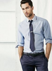blue shirt with blue tie