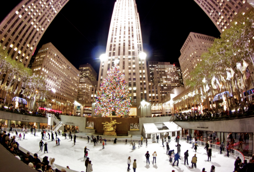 The Ice rink at Rockefeller Center christmas in nyc