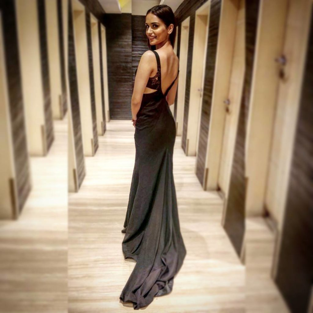 manushi chillar sexy black dress
