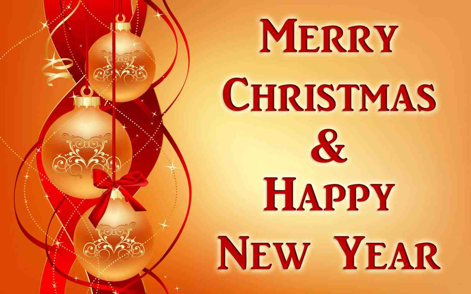 Merry christmas and happy new year wishes greetings