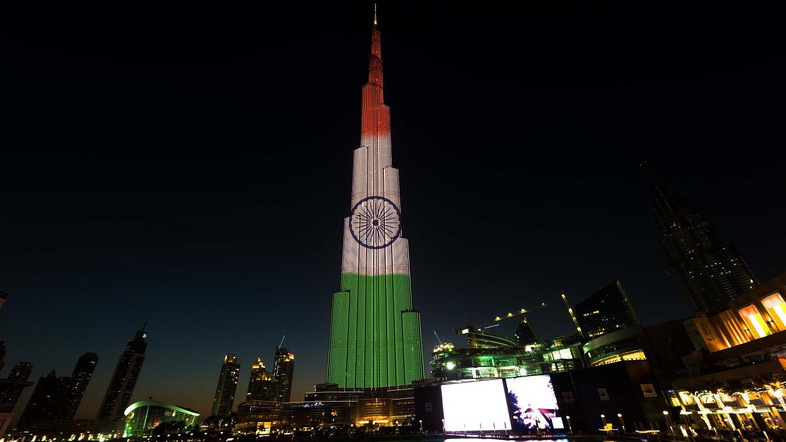 indian flag in burj khalifa