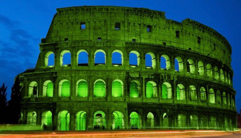 St Patricks day Rome's Colosseum green colour