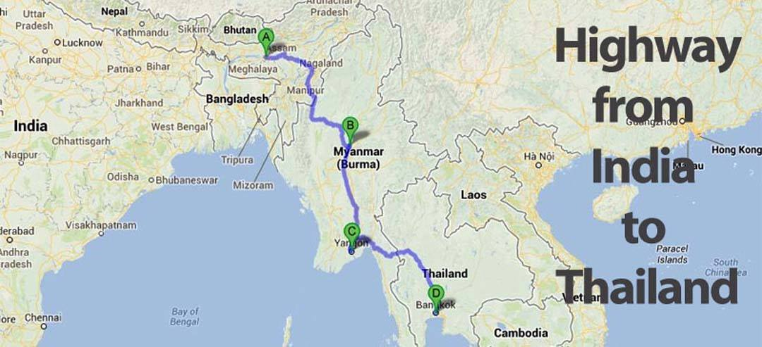 india to thailand road trip map