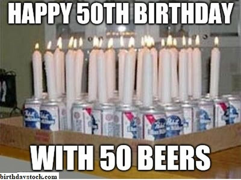 Happy 50th birthday with 50 beers.
