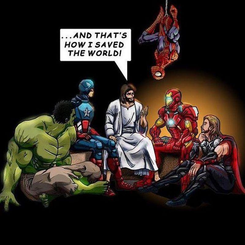Jesus memes featuring true superheros