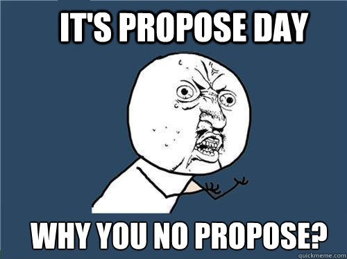 its propose day why you no propose