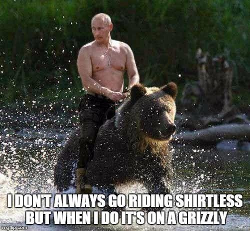 Shirtless Putin meme