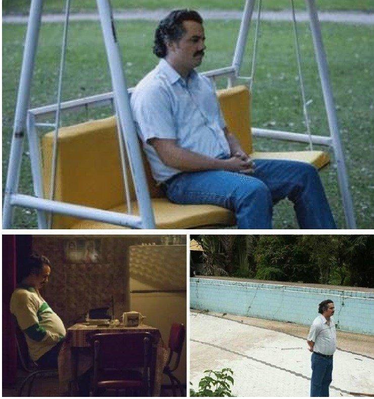 pablo escobar waiting meme template